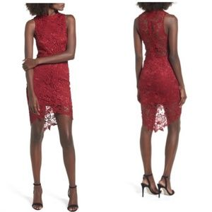 ASTR The Label red Samantha lace overlay dress